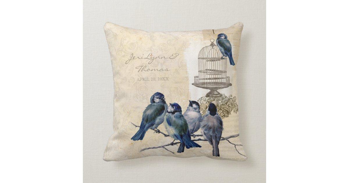 Vintage Love Birds Birdcage Postage Personalized Throw Pillow Zazzle