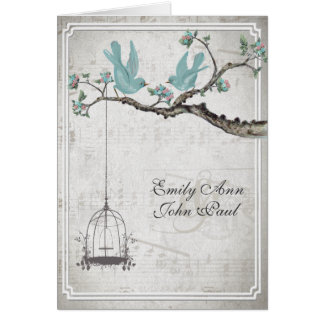 Vintage Love Birds BirdCage Wedding Invitations
