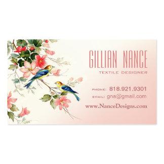 Vintage Love Birds   blush pink white Business Card