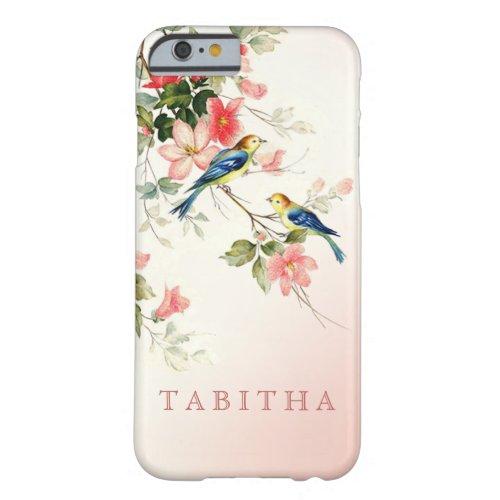 Vintage Love Birds | blush pink white Phone Case