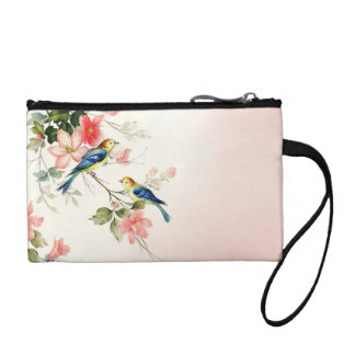Vintage Love Birds | blush pink white Change Purse