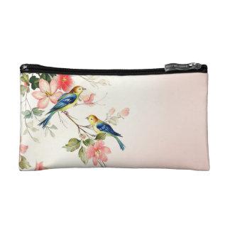 Vintage Love Birds | blush pink white Cosmetic Bag