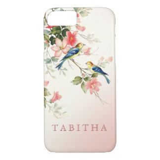 Vintage Love Birds | blush pink white iPhone 8/7 Case