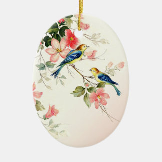 Vintage Love Birds | blush pink white Double-Sided Oval Ceramic Christmas Ornament