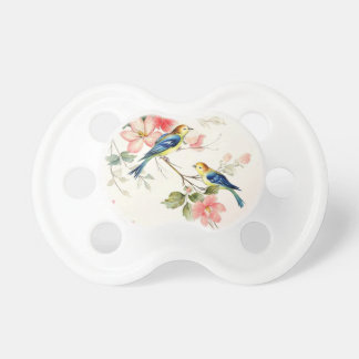 Vintage Love Birds | blush pink white Pacifiers