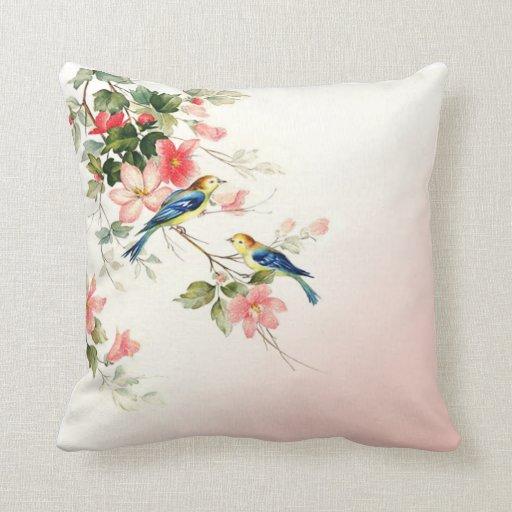 Blush Pink Throw Pillows : Vintage Love Birds blush pink white Throw Pillows Zazzle