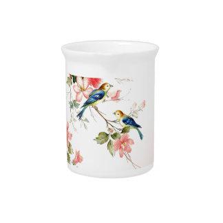 Vintage Love Birds | blush pink white Beverage Pitcher