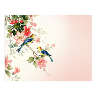 Vintage Love Birds | blush pink white Postcard