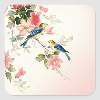 Vintage Love Birds | blush pink white Square Sticker