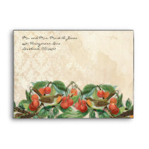 Vintage Love Birds Cherry Tree Envelopes