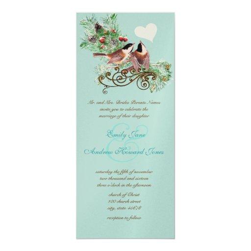 Vintage Love Birds Chickadees Wedding Invitation