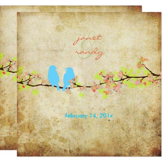 Vintage love birds/colorful blossoms card