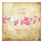 Vintage love birds/colorful blossoms personalized announcement