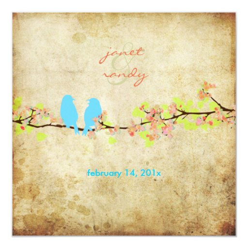 Vintage love birds/colorful blossoms 5.25x5.25 square paper invitation card