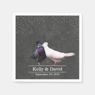 Vintage Love Birds Confetti Chalkboard Wedding Standard Cocktail Napkin