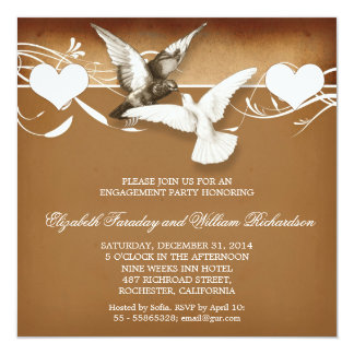 vintage love birds engagement party invitations