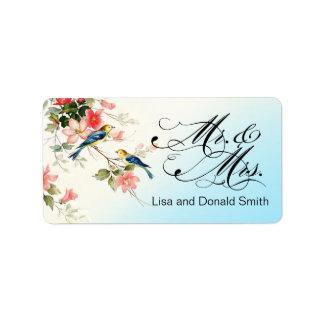 Vintage Love Birds Mr. & Mrs.   blue Label