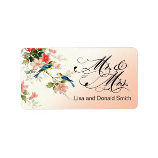 Vintage Love Birds Mr. & Mrs.   peach Label