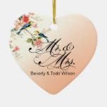 Vintage Love Birds Mr. & Mrs. | peach PHOTO Double-Sided Heart Ceramic Christmas Ornament