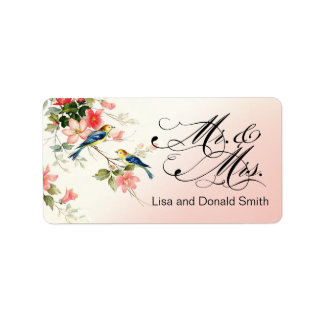 Vintage Love Birds Mr. & Mrs.   pink Label