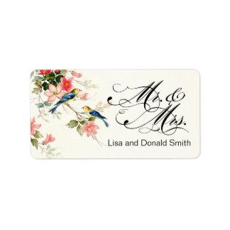 Vintage Love Birds Mr. & Mrs.   white Label