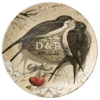 Vintage Love Birds Nest French Decor Wedding Date Porcelain Plate