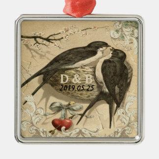 Vintage Love Birds Nest French Decor Wedding Date Metal Ornament