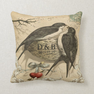 Vintage Love Birds Nest French Decor Wedding Date Throw Pillow
