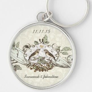 Vintage Love Birds Oak Wedding Key Chain