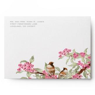 Vintage Love Birds Pink Flower Branch Envelopes zazzle_envelope