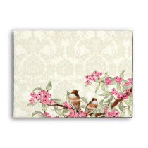 Vintage Love Birds Pink Flower Branch Envelopes