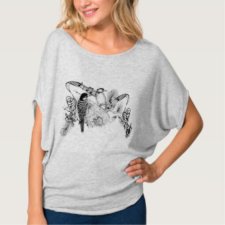 Vintage Love Birds Romantic Forest Woodpeckers T Shirt