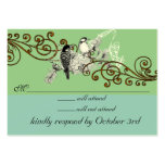 Vintage Love Birds RSVP-change background color Business Card Template