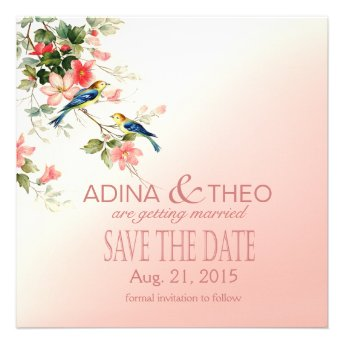 Vintage Love Birds Save the Date blush pink white Announcements