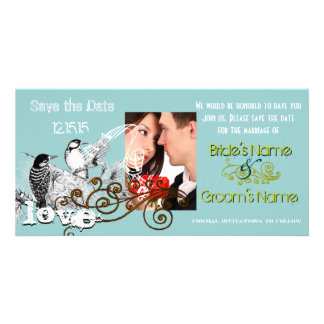 Vintage Love Birds Save the Date  Your Photo Photo Card