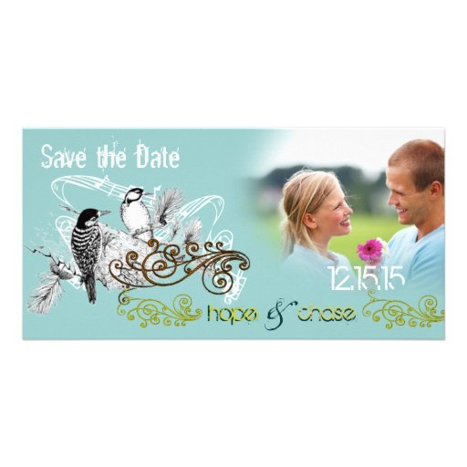 Vintage Love Birds Save the Date  Your Photo Custom Photo Card