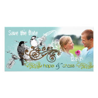 Vintage Love Birds Save the Date Your Photo Photo Cards