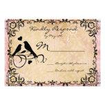 Vintage Love Birds Scroll Frame Wedding RSVP Cards