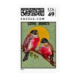 Vintage Love Birds Sun Postage Stamp