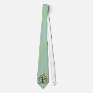 Vintage Love Birds Swirl Tree Stripe Wedding Tie