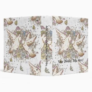 Vintage Love Birds, Two White Doves Floral 3 Ring Binder