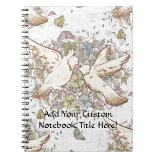 Vintage Love Birds, Two White Doves Floral Notebook