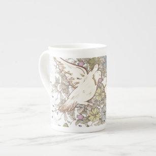 Vintage Love Birds, Two White Doves Floral Tea Cup