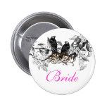 Vintage Love Birds Wedding Badges Button