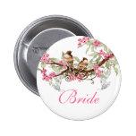 Vintage Love Birds Wedding Badges Pinback Button