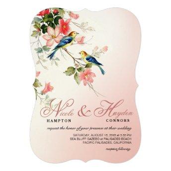 Vintage Love Birds Wedding   blush pink white Personalized Invites