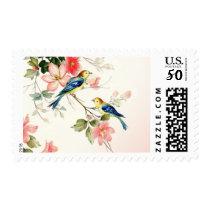 Vintage Love Birds Wedding | blush pink white Postage