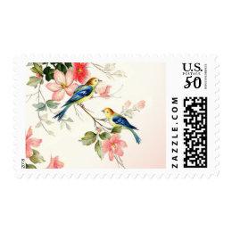 Vintage Love Birds Wedding   blush pink white Postage