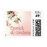 Vintage Love Birds Wedding | blush pink white Postage Stamps