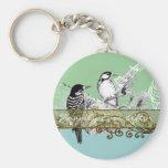 Vintage Love Birds Wedding Invitation Key Chain